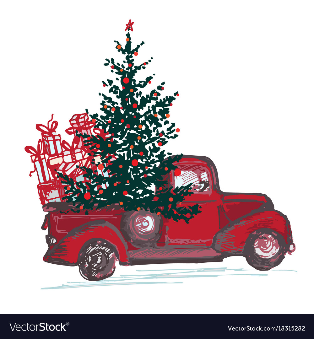 Festive new year 2018 card red truck with fir