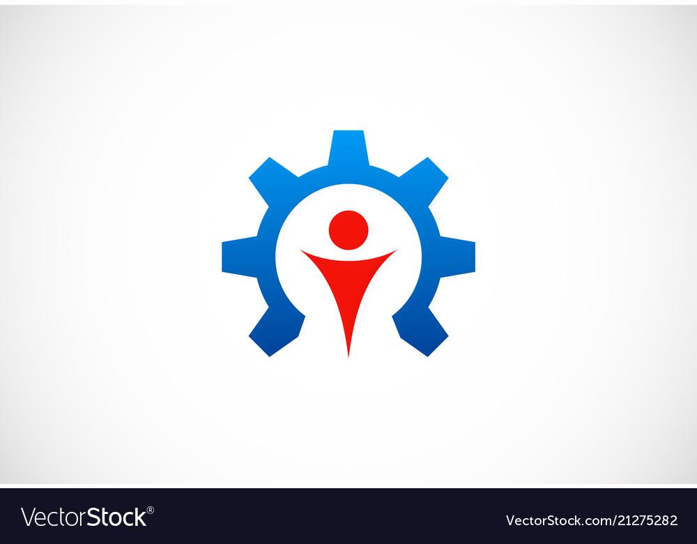 Gear work people logo