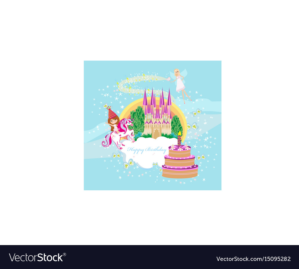 Girl on a unicorn - birthday card