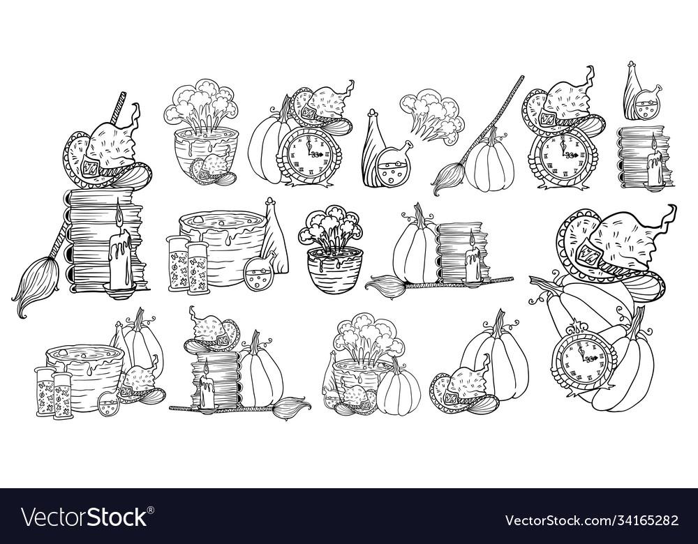 Halloween hand drawn icons set