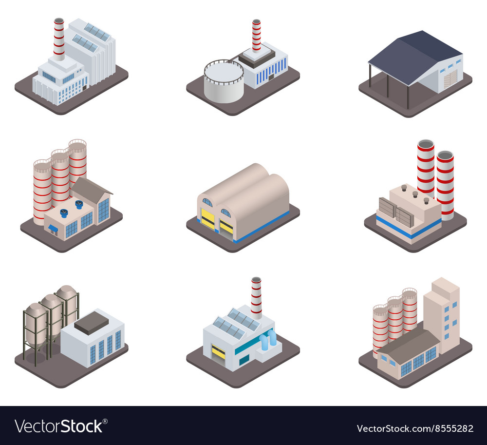 Isometric factory plants and factories