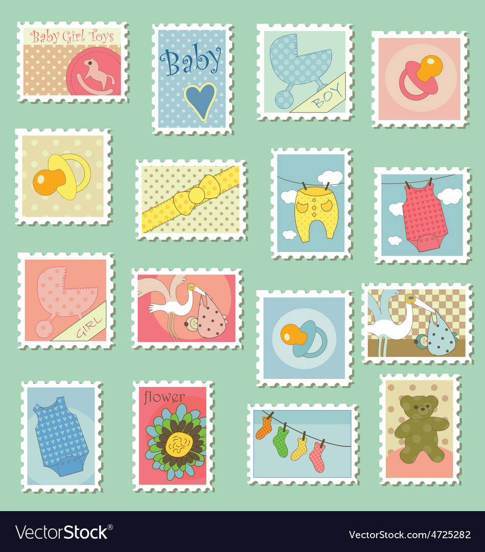 Postage stamps with baby theme vector image