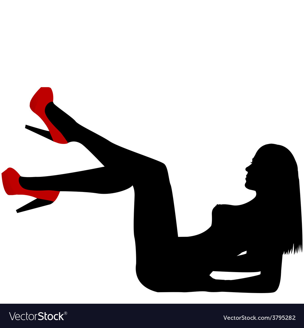 Sexy naked woman silhouette with red shoes vector image