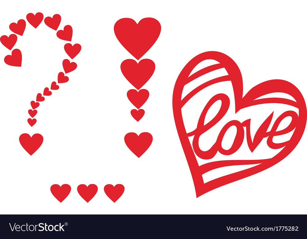 Signs of love heart valentines day design element