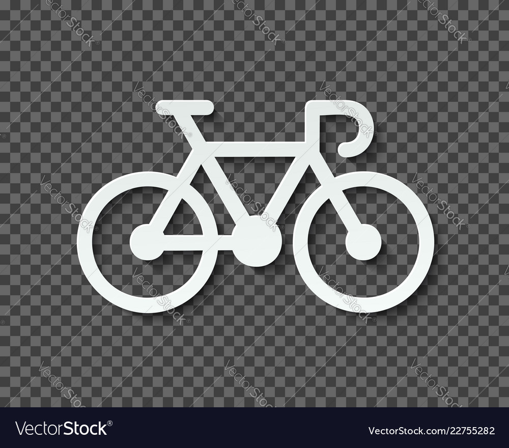 Silhouette of a bicycle cut out of paper with a