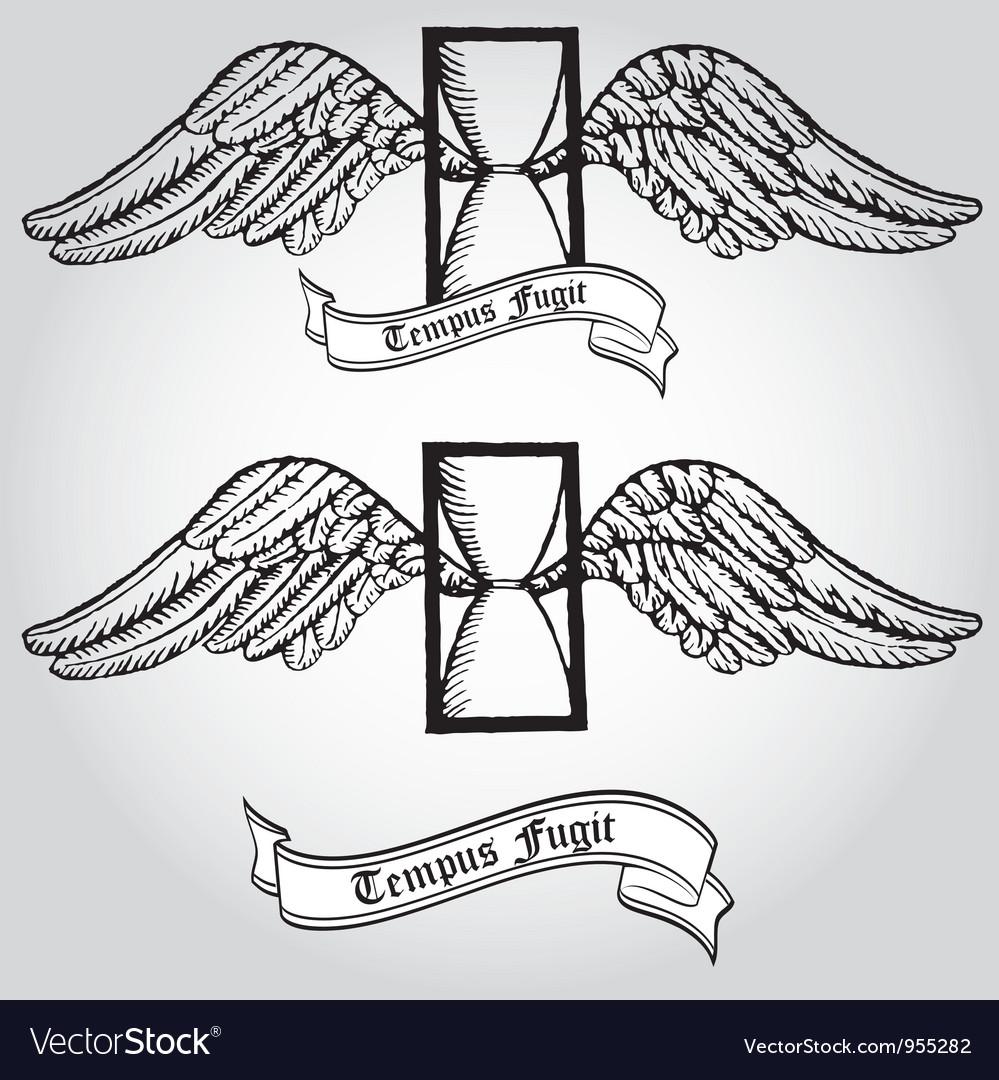 Tempus fugit Passing time Tattoo Symbol Hourgl vector image