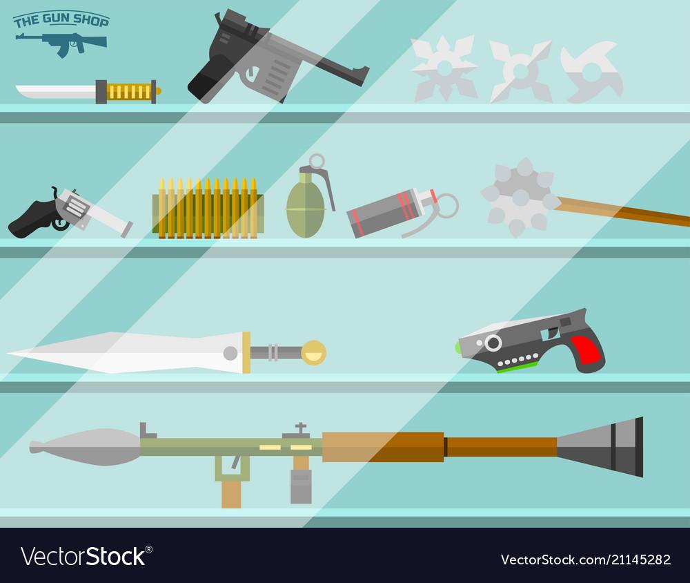 Weapon storefront banner choosing gun and shooting