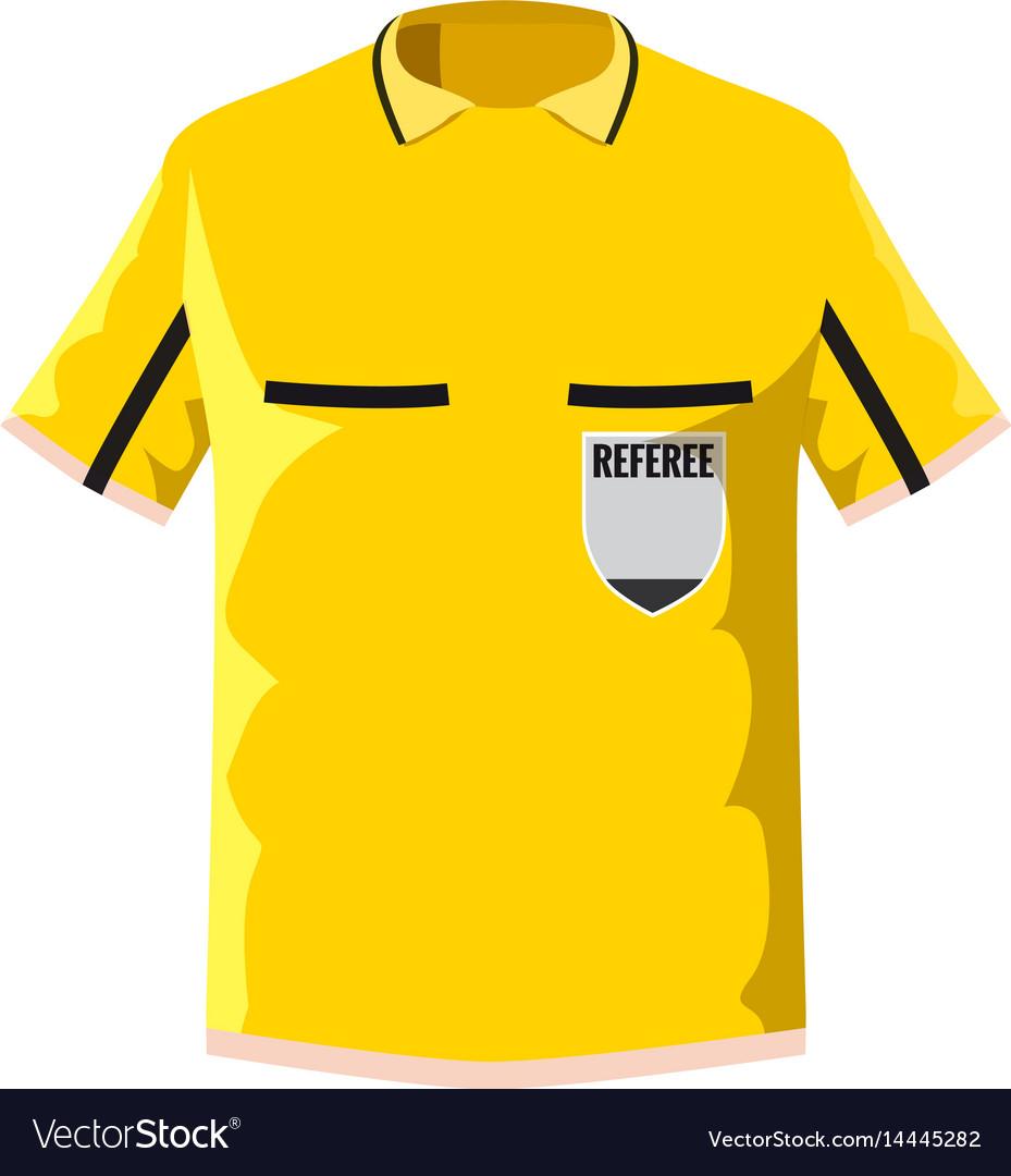 Yellow soccer referee shirt icon cartoon style vector image