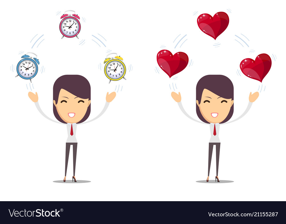 Alarm clock and a red heart at the woman in hands