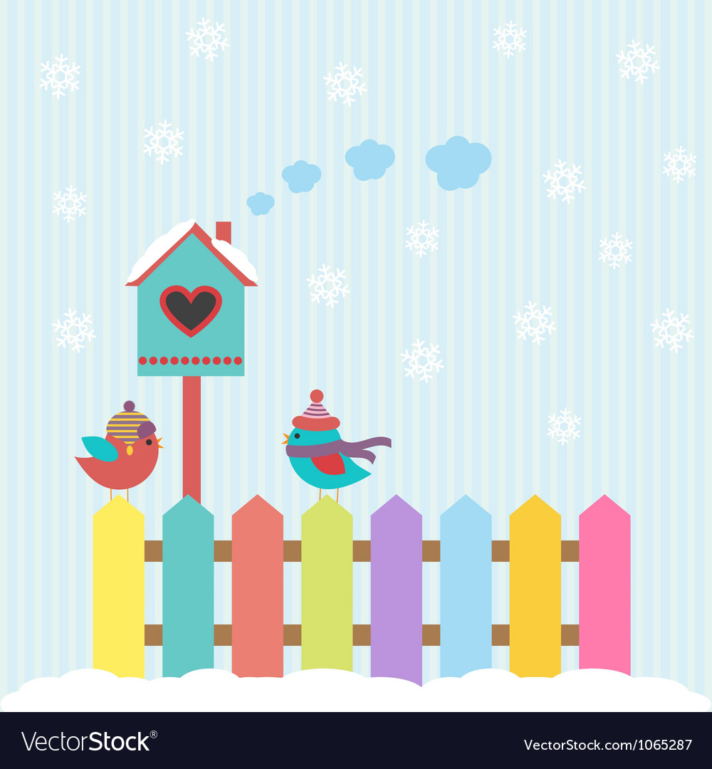 Background with birds and birdhouse winter