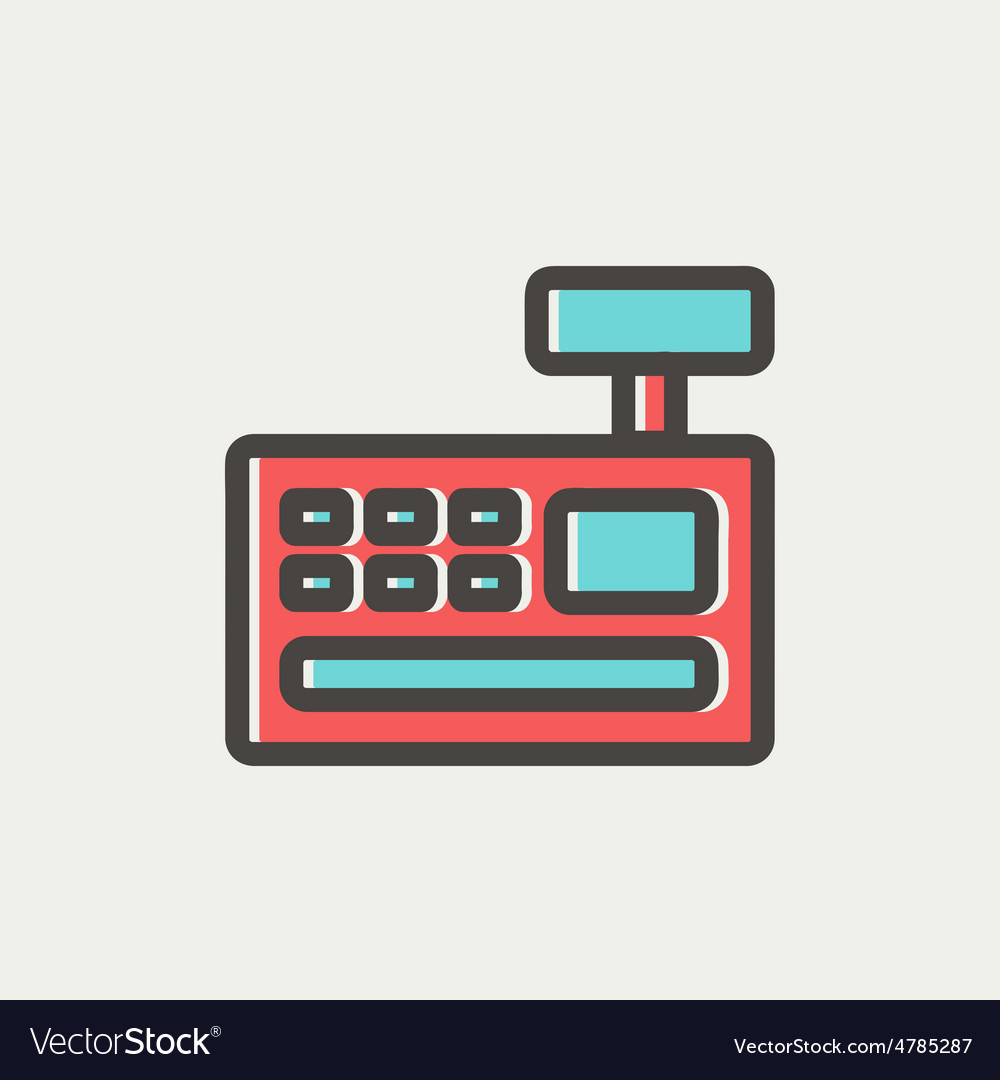 Cash Register machine thin line icon