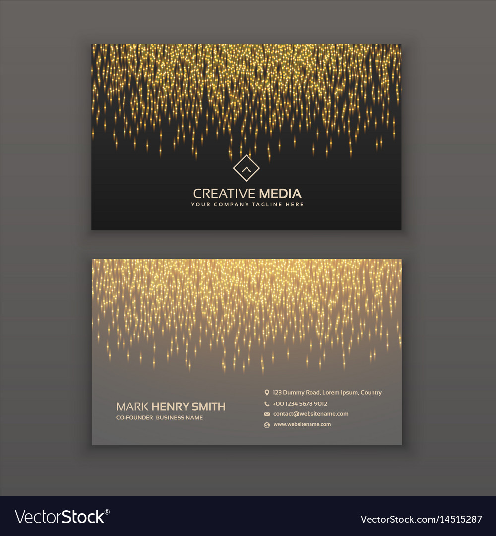 Creative business card design with golden glitter