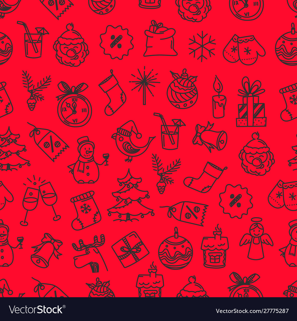 Doodle christmas elements seamless background