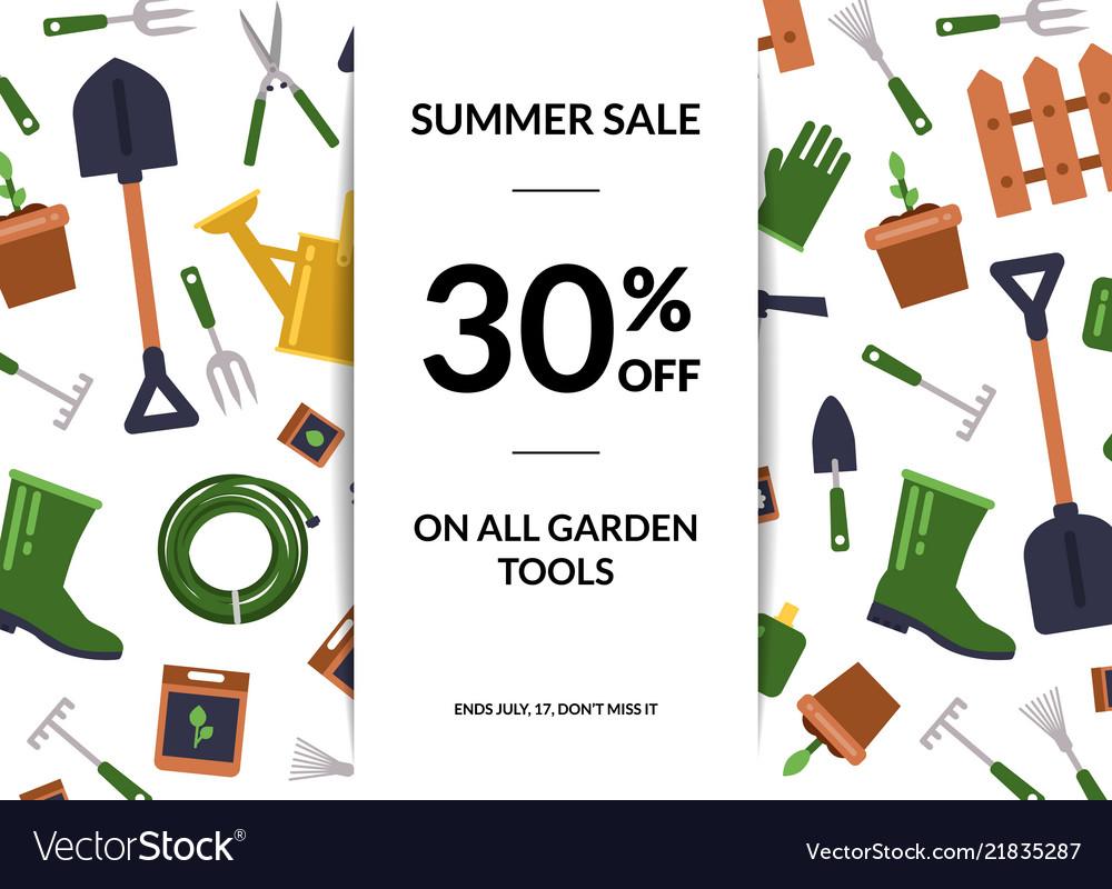 Flat gardening icons sale poster