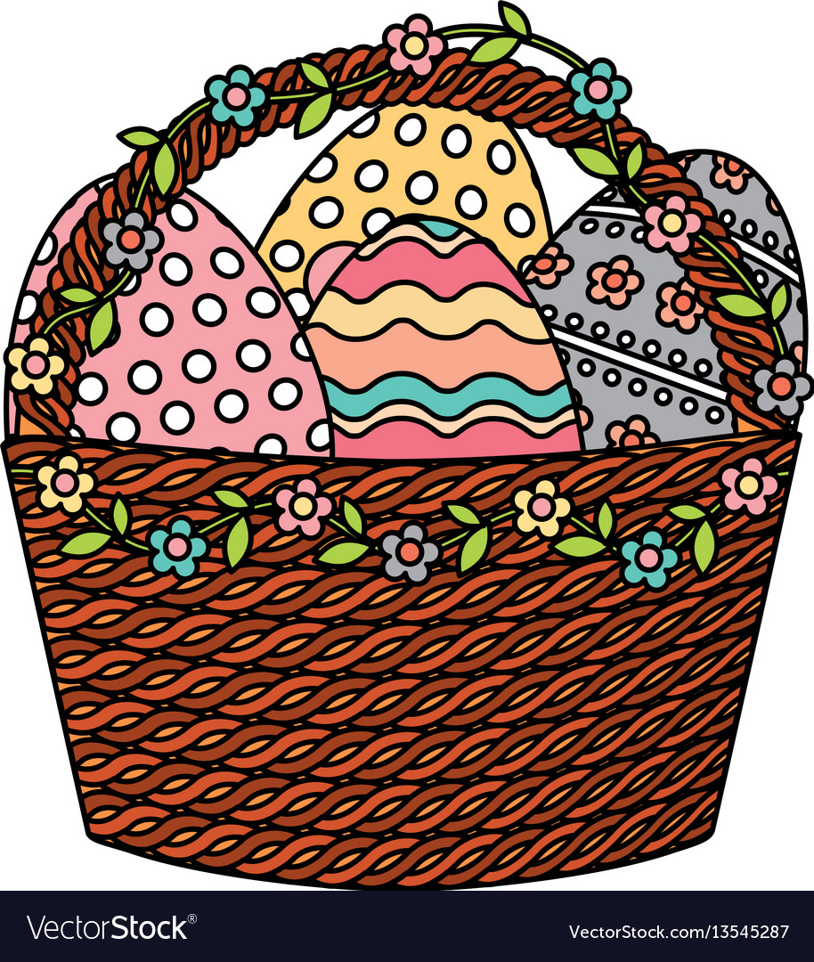 Happy easter basket with eggs painted