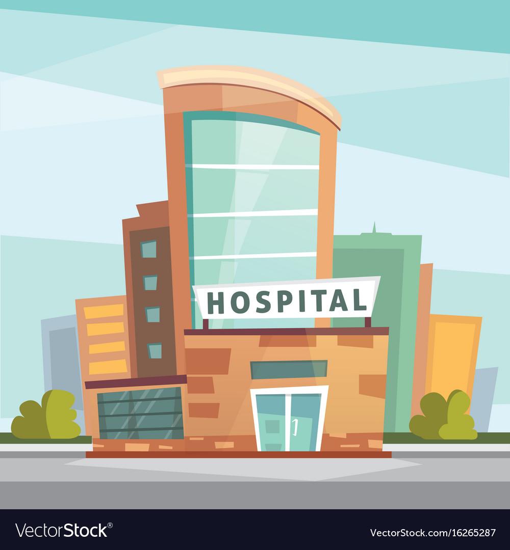 Hospital building cartoon modern