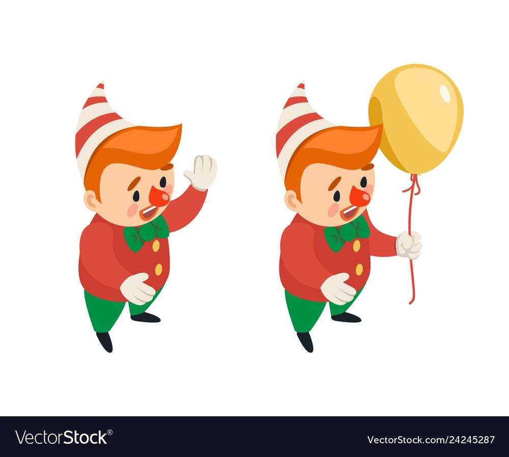 Isometric circus party fun carnival clown funny