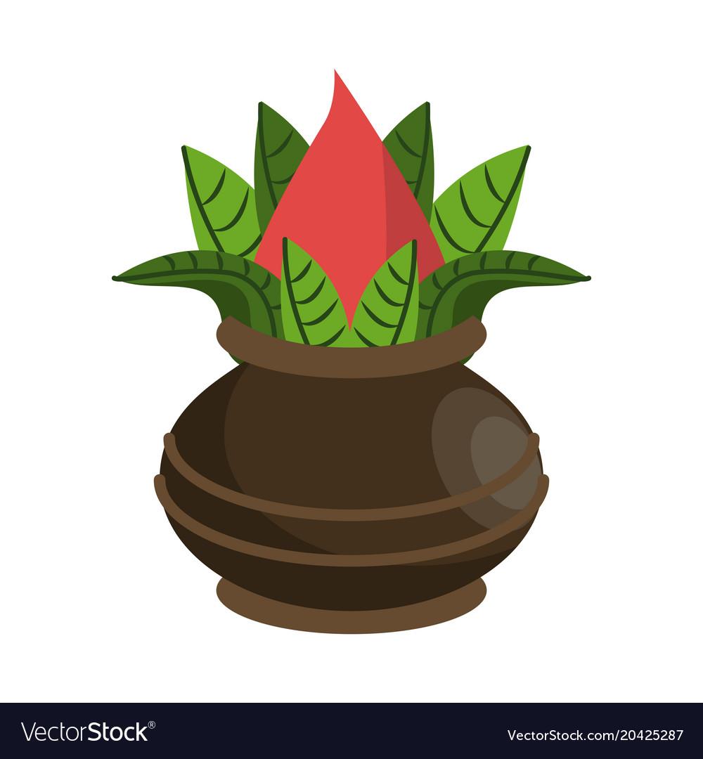 Lotus Flower On Vase Jar Royalty Free Vector Image
