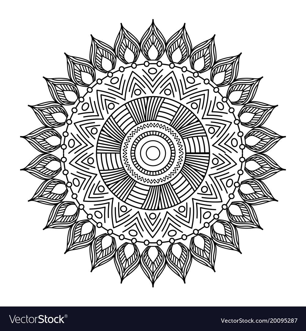 Mandala floral decorative ethnic element vector image