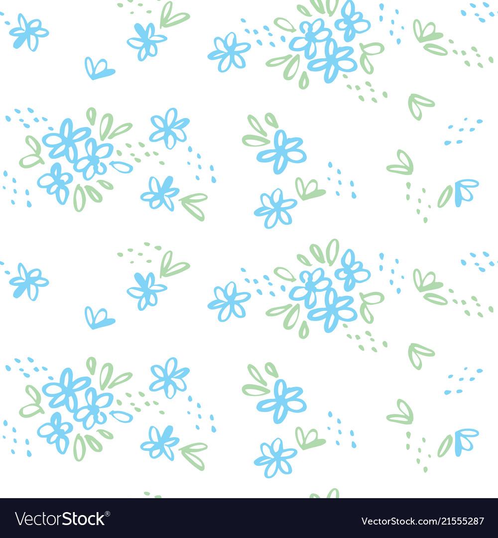 Naive sketch meadow flowers seamless pattern