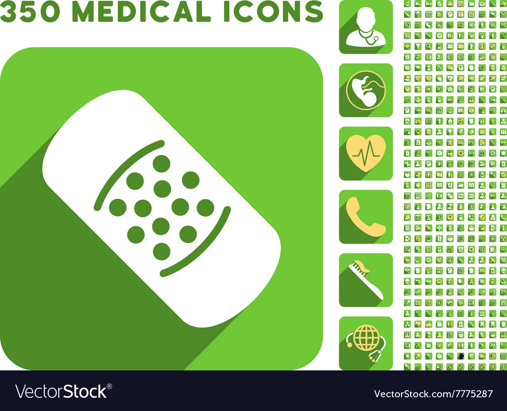 Patch Icon and Medical Longshadow Icon Set