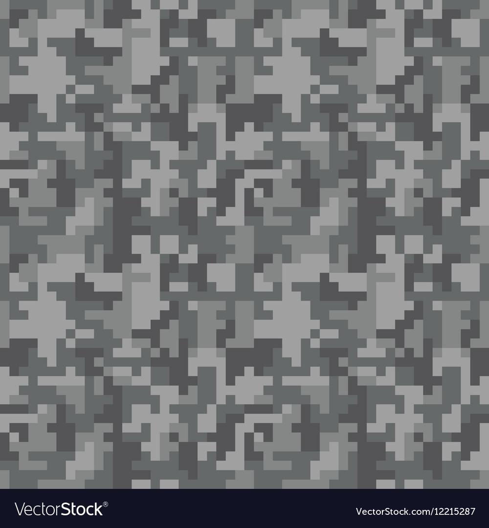Pixel camo seamless pattern Grey urban camouflage vector image