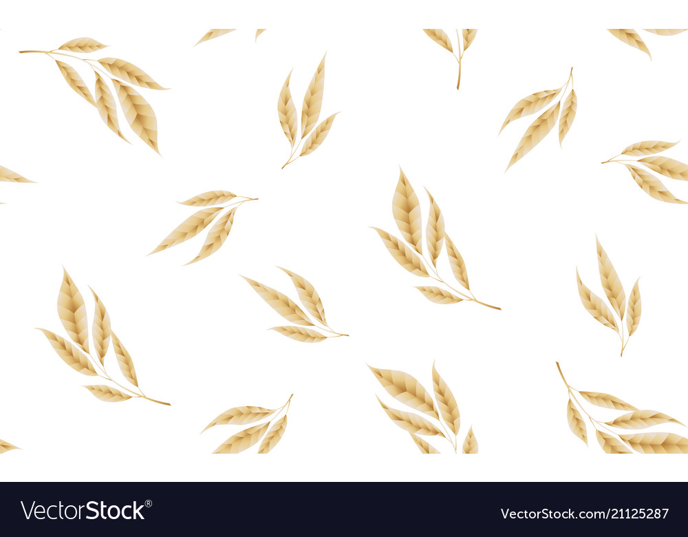 Seamless pattern with gold leaves floral