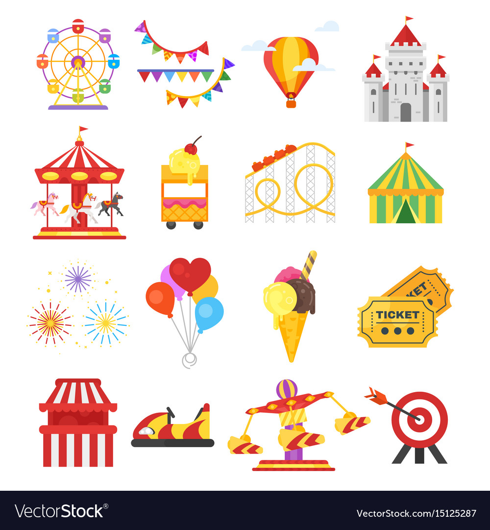 Set of amusement park fun icons