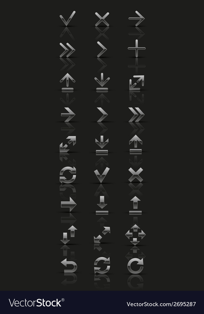 Set of silver icons