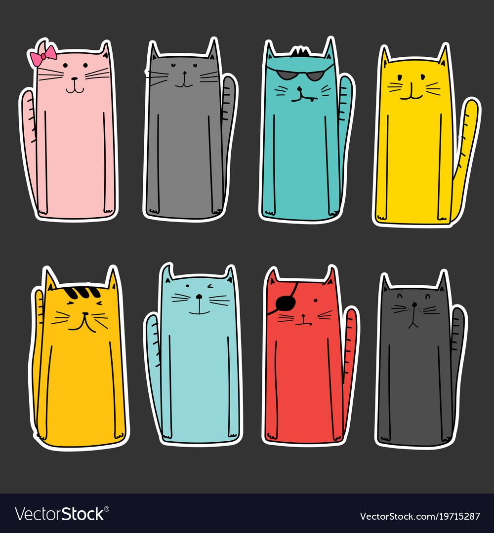 Set of sticker cute cat