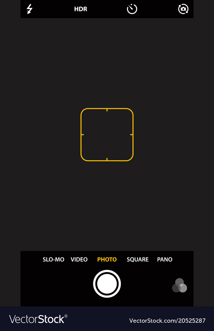 Camera Template | Smartphone Camera Viewfinder Template Focusing Vector Image