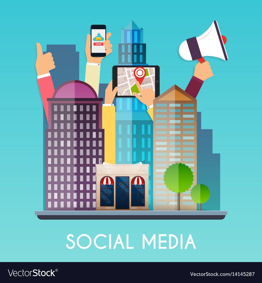 Social media and on devices in hands city