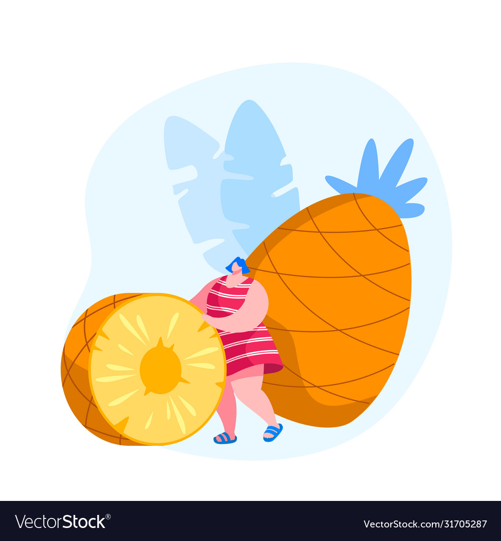 Tropical fruits diet young woman rolling huge