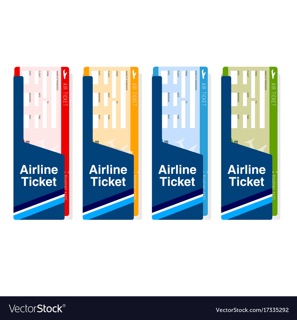 Air ticket boarding travel set in color