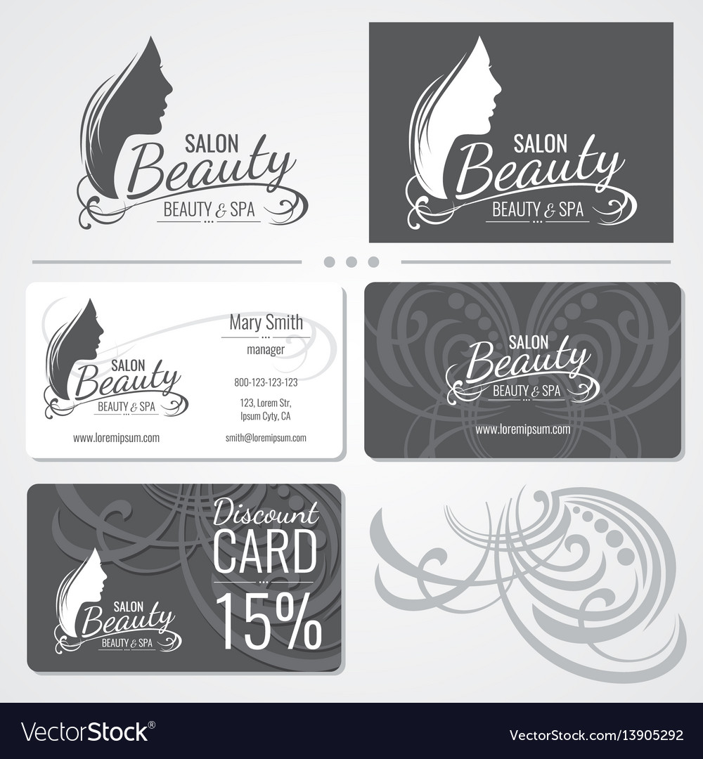 Beauty salon business card templates with vector image reheart Choice Image