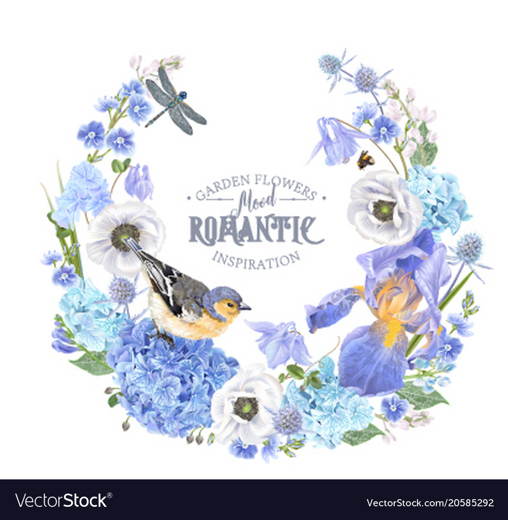 Blue flower wreath royalty free vector image vectorstock blue flower wreath vector image izmirmasajfo