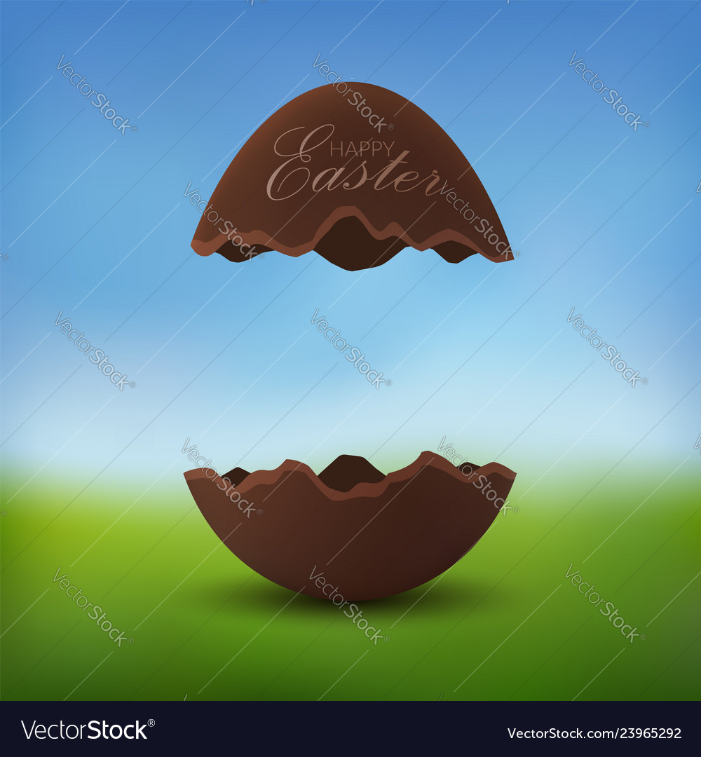 Chocolate egg 3d happy easter text broken brown
