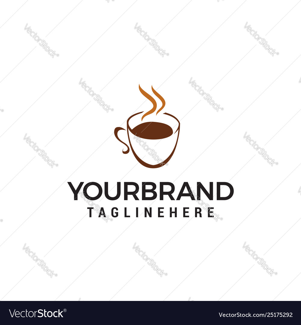 Coffee and tea glass logo design concept template