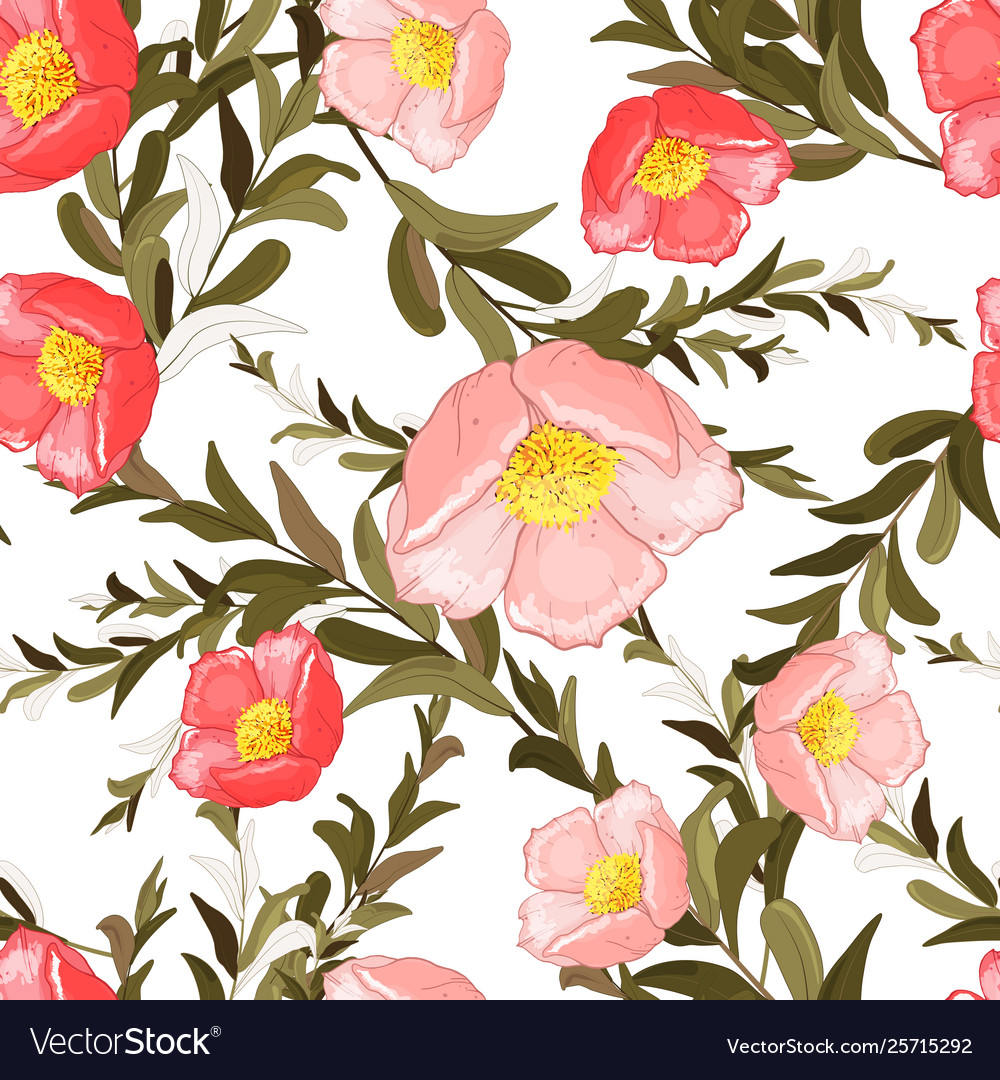Colorful Spring Seamless Wallpaper With Cute Vector Image