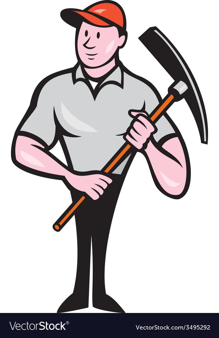 Construction Worker Holding Pickaxe Cartoon vector image