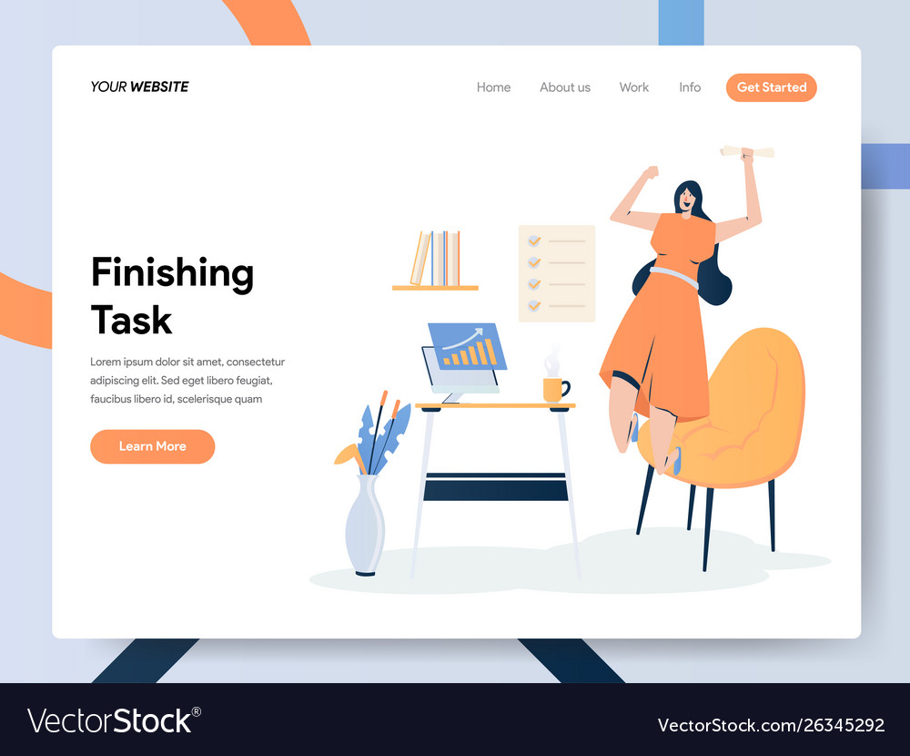 Happy businesswoman finishing task concept