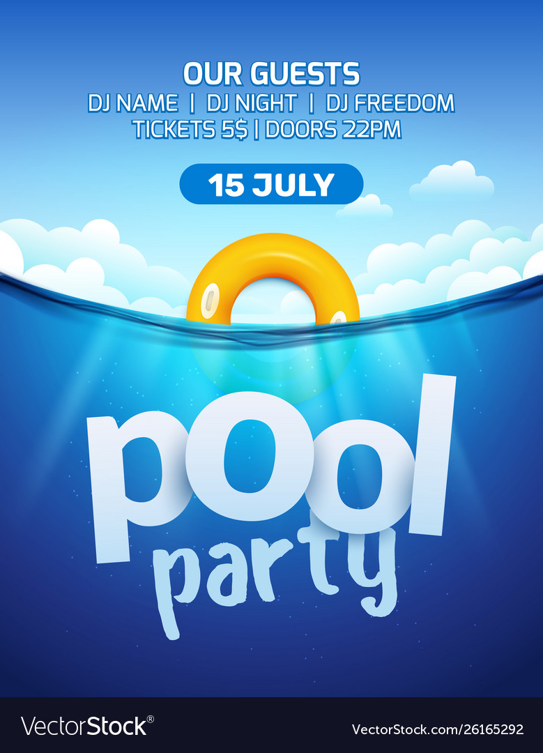 Pool Beach Summer Party Invitation Banner Flyer
