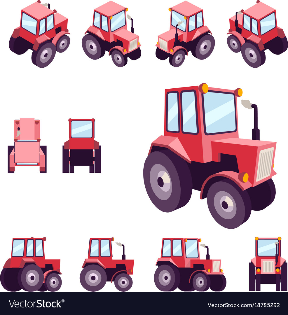 Red farm tractor from different angles vehicle vector image