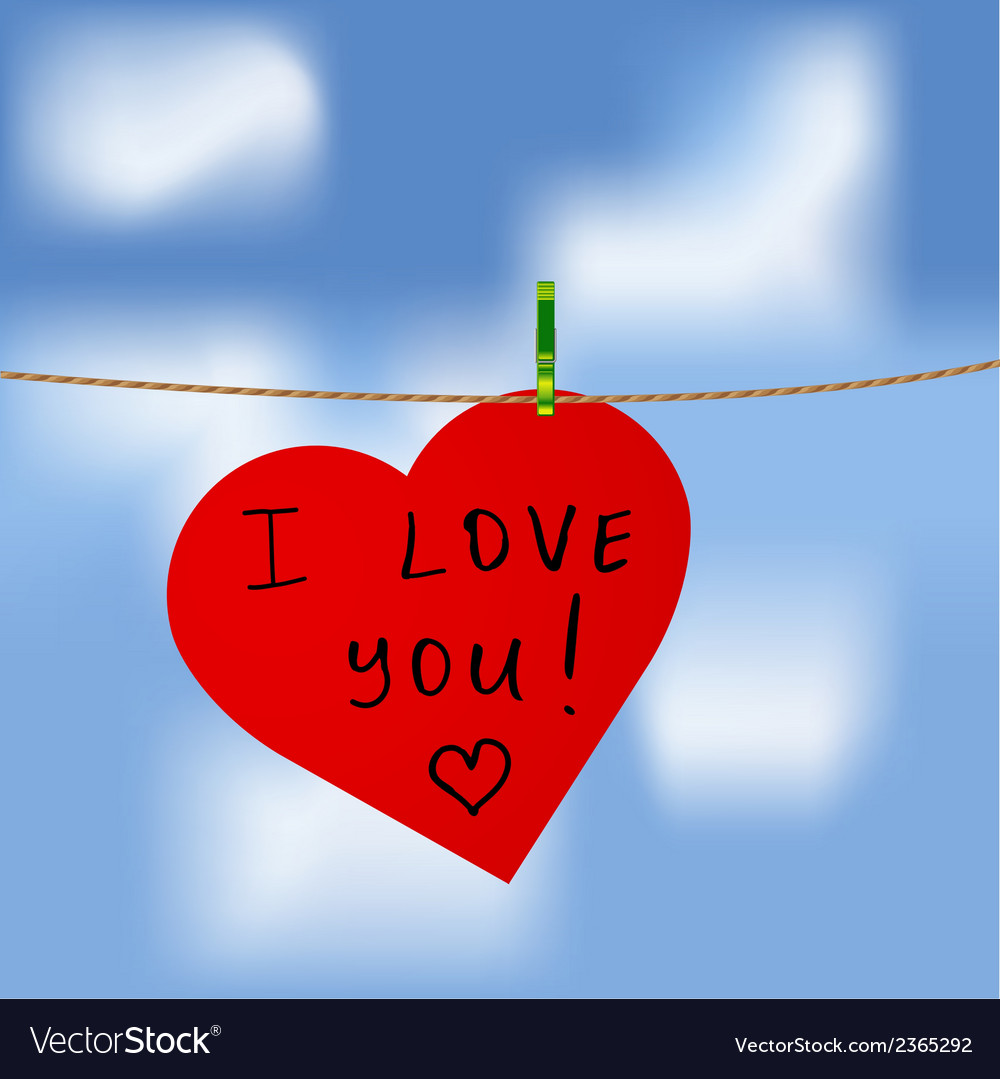 Download Red heart with I love you inscription Royalty Free Vector