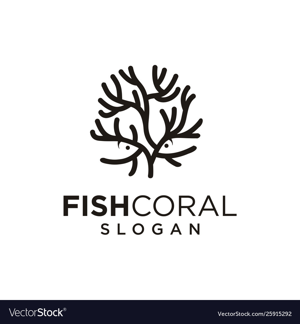 Sea coral and fish logo black silhouette isolated