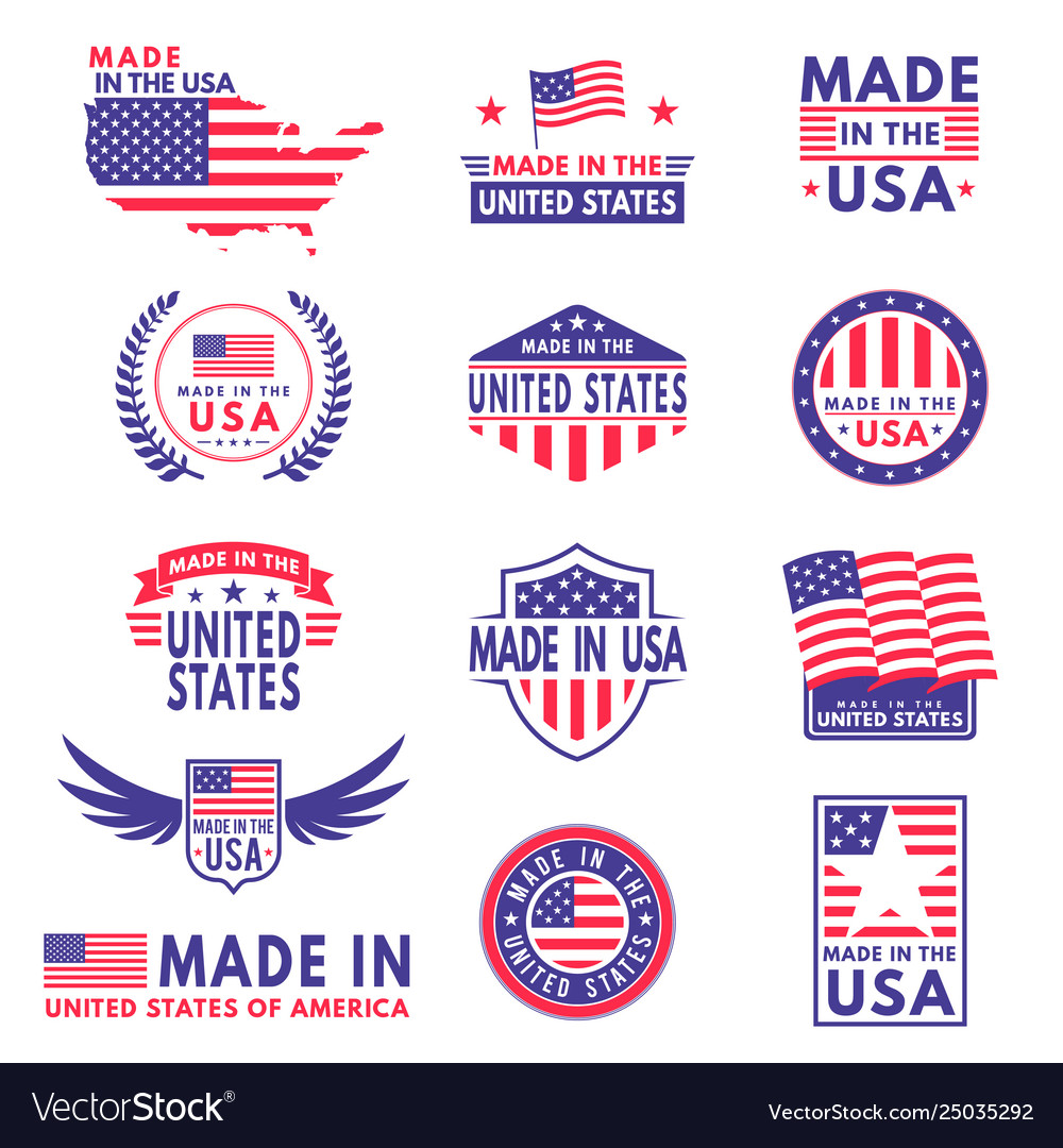 Usa labels flag made america american states