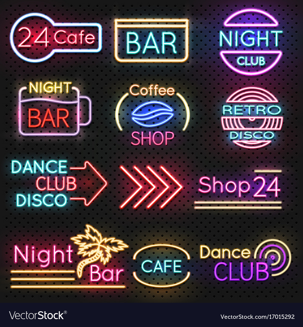 Vintage cafe and night club roadside neon signs vector image