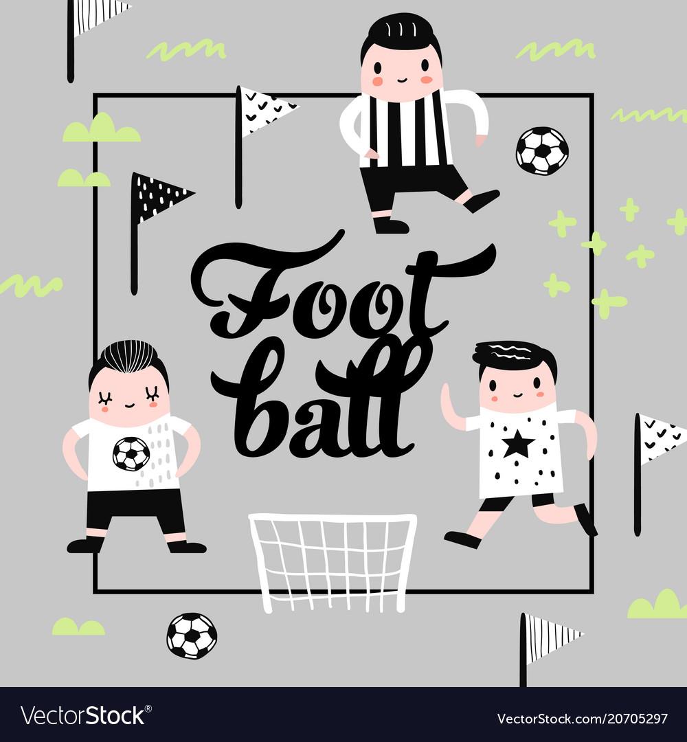Childish design with boy football player