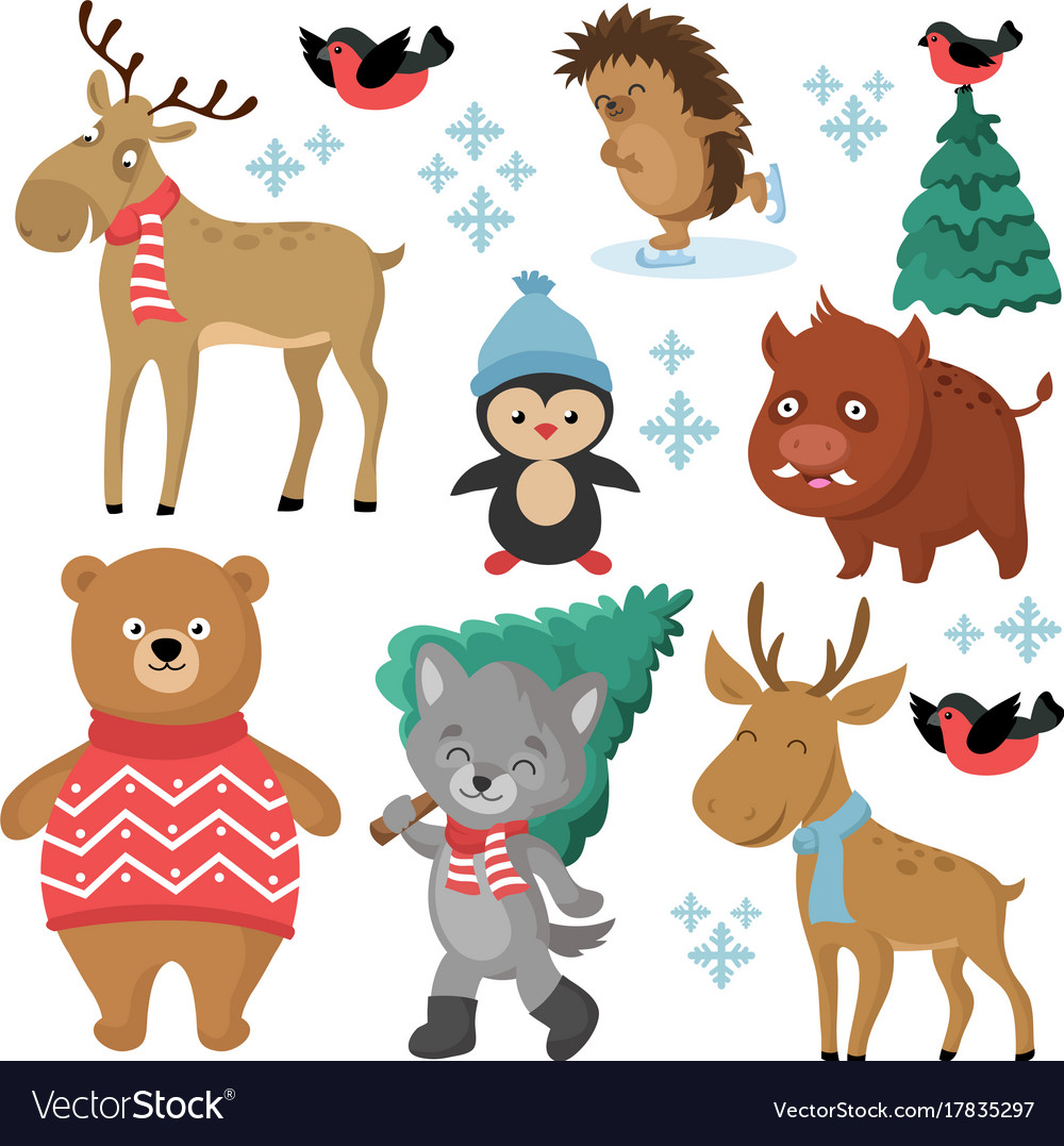 Happy Forest Animals In Winter And Christmas Trees