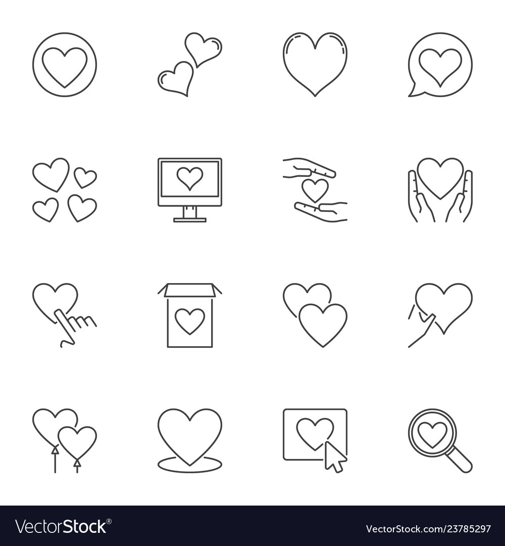 Heart outline icons set love linear